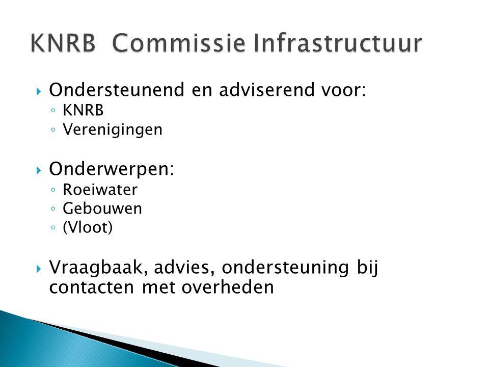  Ondersteunend en adviserend voor: ◦ KNRB ◦ Verenigingen  Onderwerpen: ◦ Roeiwater ◦ Gebouwen ◦ (Vloot)  Vraagbaak, advies, ondersteuning bij contacten met overheden