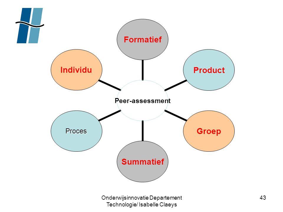 Onderwijsinnovatie Departement Technologie/ Isabelle Claeys 43 Peer- assessment FormatiefProductGroepSummatief ProcesIndividu