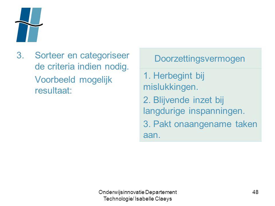 Onderwijsinnovatie Departement Technologie/ Isabelle Claeys 48 3.Sorteer en categoriseer de criteria indien nodig. Voorbeeld mogelijk resultaat: Doorz