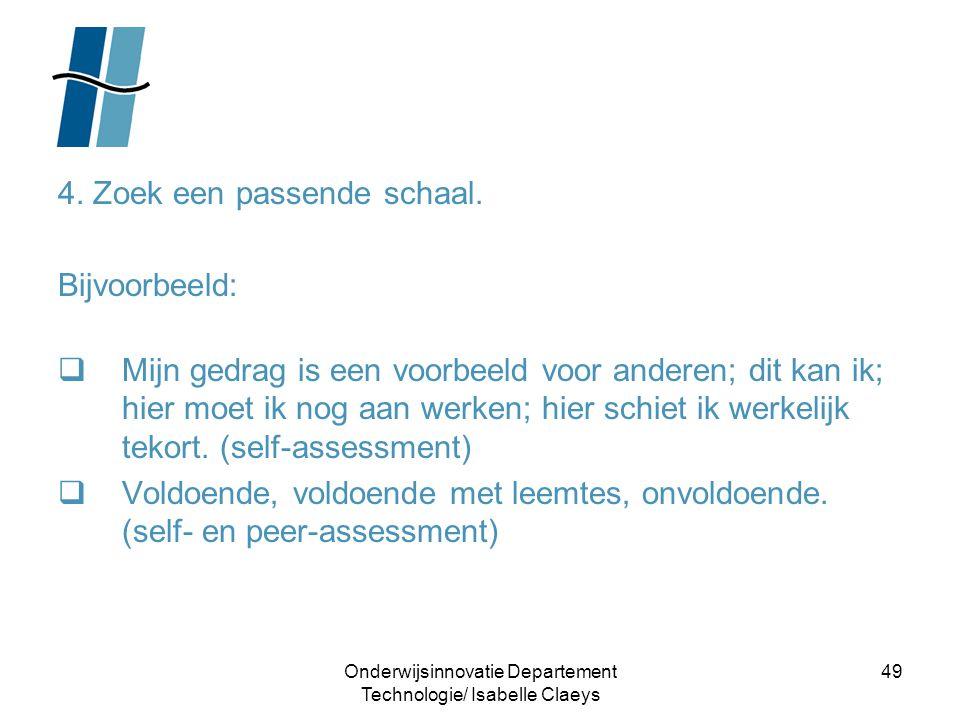 Onderwijsinnovatie Departement Technologie/ Isabelle Claeys 49 4. Zoek een passende schaal. Bijvoorbeeld:  Mijn gedrag is een voorbeeld voor anderen;