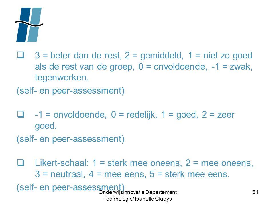 Onderwijsinnovatie Departement Technologie/ Isabelle Claeys 51  3 = beter dan de rest, 2 = gemiddeld, 1 = niet zo goed als de rest van de groep, 0 =