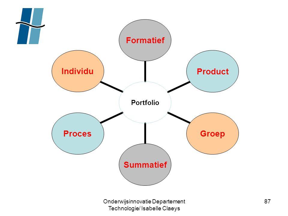 Onderwijsinnovatie Departement Technologie/ Isabelle Claeys 87 Portfolio FormatiefProductGroepSummatiefProcesIndividu