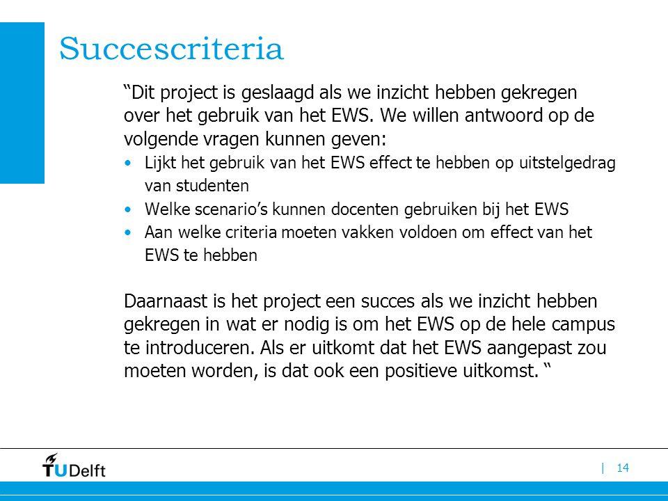 | Succescriteria Dit project is geslaagd als we inzicht hebben gekregen over het gebruik van het EWS.