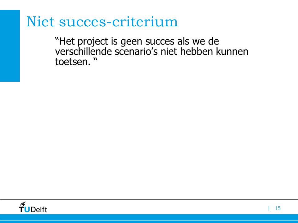 | Niet succes-criterium Het project is geen succes als we de verschillende scenario's niet hebben kunnen toetsen.
