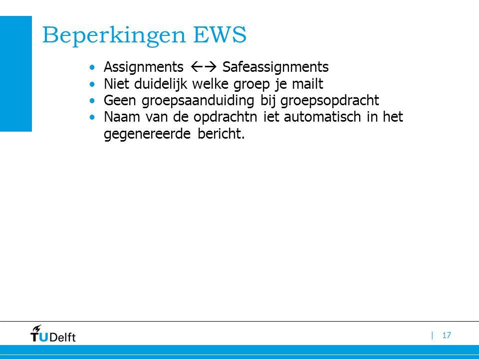 | Beperkingen EWS Assignments  Safeassignments Niet duidelijk welke groep je mailt Geen groepsaanduiding bij groepsopdracht Naam van de opdrachtn iet automatisch in het gegenereerde bericht.