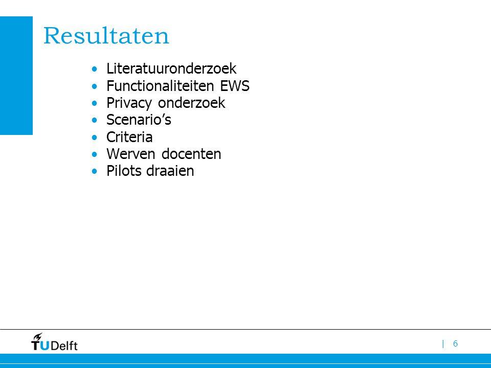 | Resultaten Literatuuronderzoek Functionaliteiten EWS Privacy onderzoek Scenario's Criteria Werven docenten Pilots draaien 6