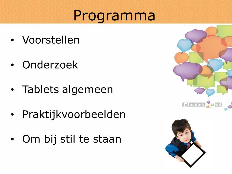 Programma Voorstellen Onderzoek Tablets algemeen Praktijkvoorbeelden Om bij stil te staan