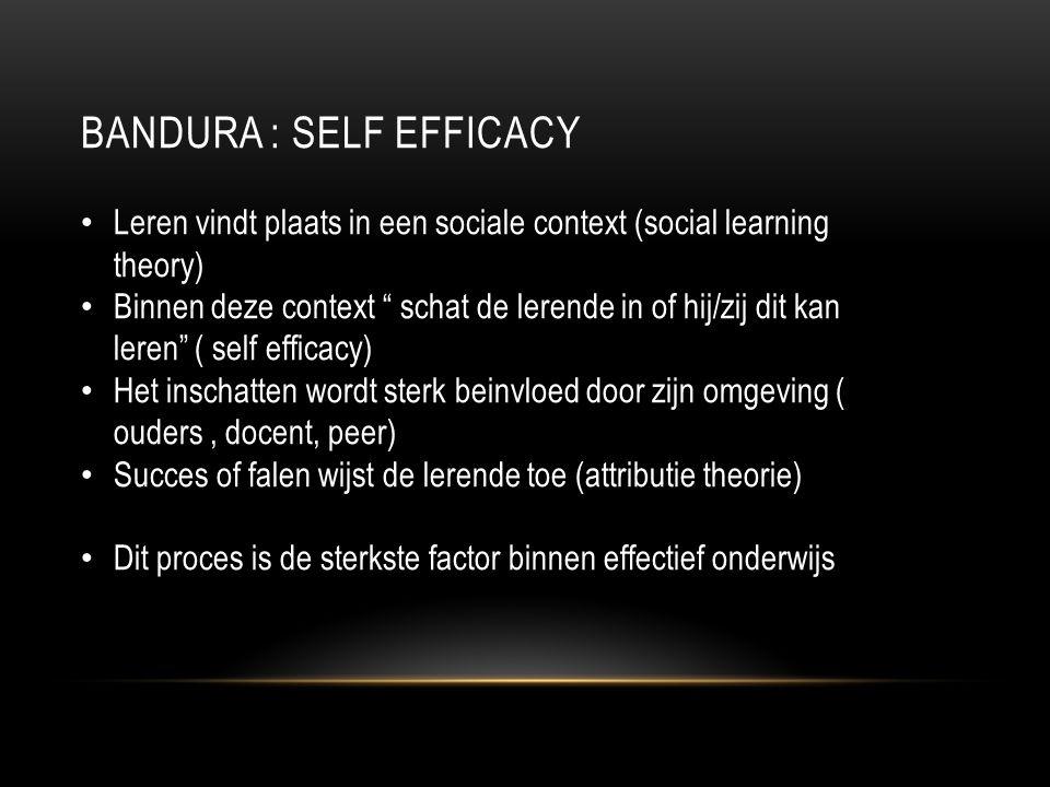 BANDURA : SELF EFFICACY Leren vindt plaats in een sociale context (social learning theory) Binnen deze context schat de lerende in of hij/zij dit kan leren ( self efficacy) Het inschatten wordt sterk beinvloed door zijn omgeving ( ouders, docent, peer) Succes of falen wijst de lerende toe (attributie theorie) Dit proces is de sterkste factor binnen effectief onderwijs