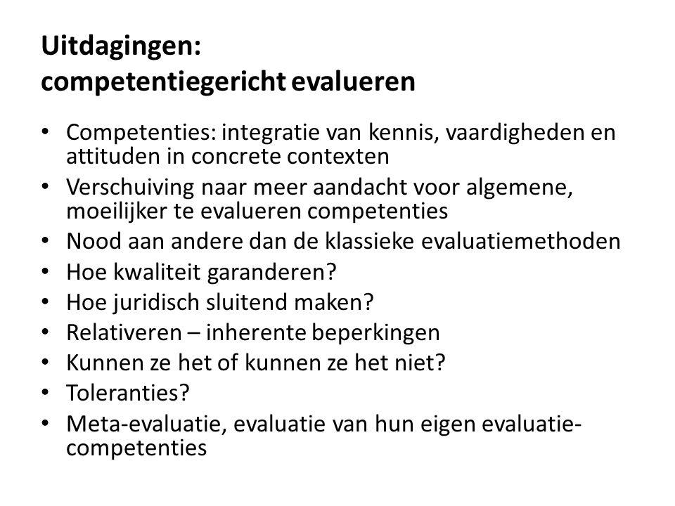 Uitdagingen: competentiegericht evalueren Competenties: integratie van kennis, vaardigheden en attituden in concrete contexten Verschuiving naar meer