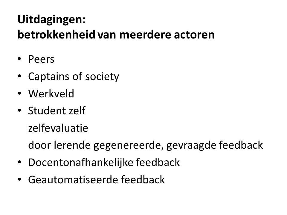 Uitdagingen: betrokkenheid van meerdere actoren Peers Captains of society Werkveld Student zelf zelfevaluatie door lerende gegenereerde, gevraagde fee