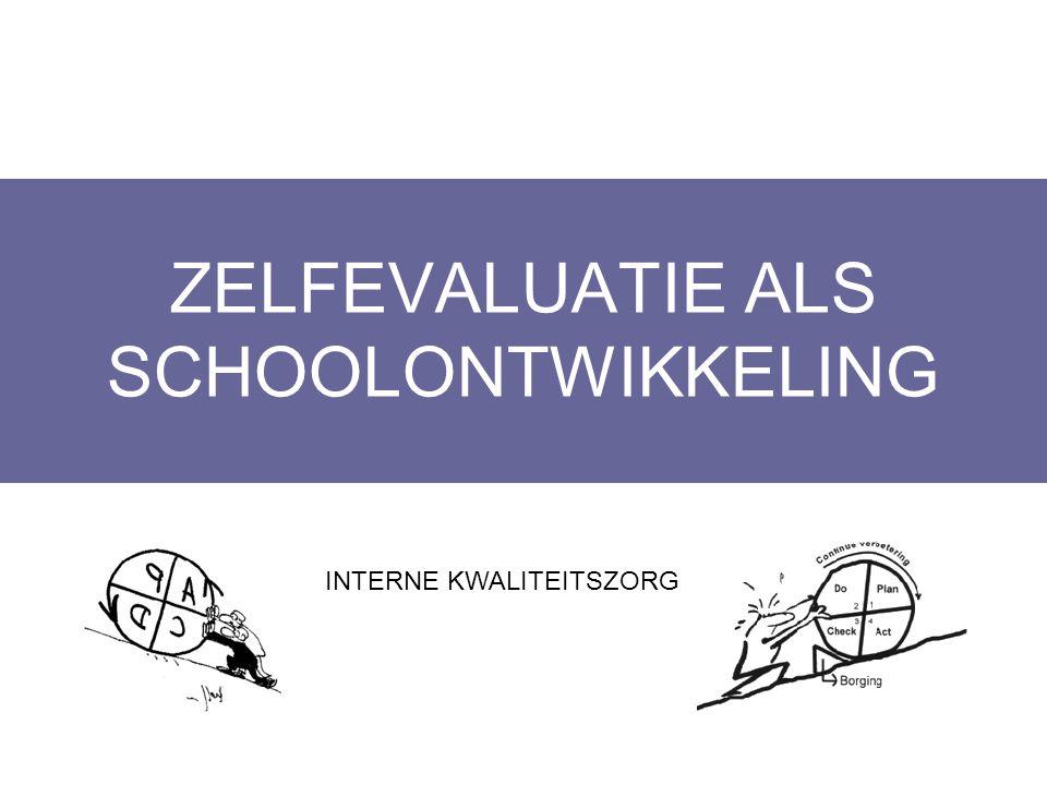 ZELFEVALUATIE ALS SCHOOLONTWIKKELING Layout Edwin Kindermans INTERNE KWALITEITSZORG