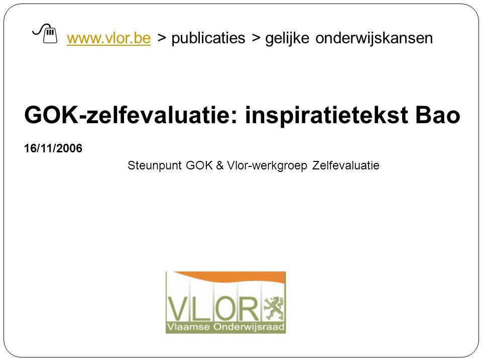 GOK-zelfevaluatie: inspiratietekst Bao 16/11/2006 Steunpunt GOK & Vlor-werkgroep Zelfevaluatie  www.vlor.be > publicaties > gelijke onderwijskansen w