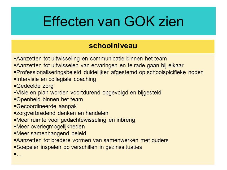 31 Effecten van GOK zien schoolniveau  Aanzetten tot uitwisseling en communicatie binnen het team  Aanzetten tot uitwisselen van ervaringen en te ra