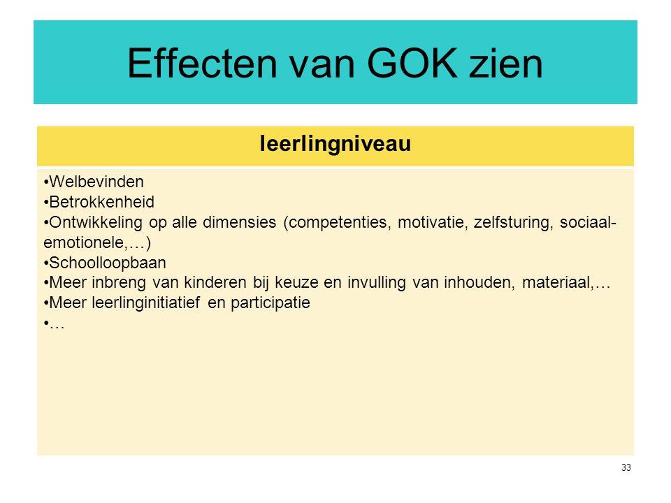 33 Effecten van GOK zien leerlingniveau Welbevinden Betrokkenheid Ontwikkeling op alle dimensies (competenties, motivatie, zelfsturing, sociaal- emoti