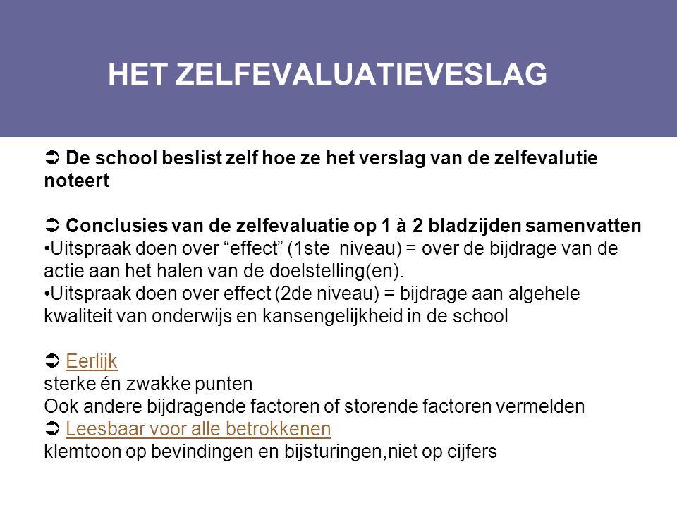 HET ZELFEVALUATIEVESLAG Layout Edwin Kindermans  De school beslist zelf hoe ze het verslag van de zelfevalutie noteert  Conclusies van de zelfevalua