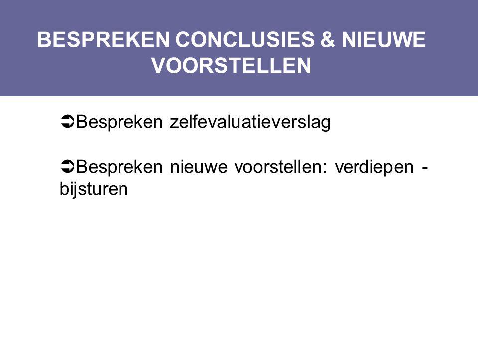 BESPREKEN CONCLUSIES & NIEUWE VOORSTELLEN Layout Edwin Kindermans  Bespreken zelfevaluatieverslag  Bespreken nieuwe voorstellen: verdiepen - bijstur