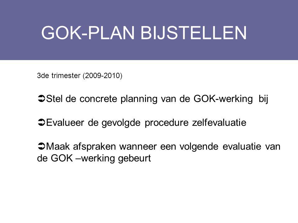 GOK-PLAN BIJSTELLEN Layout Edwin Kindermans 3de trimester (2009-2010)  Stel de concrete planning van de GOK-werking bij  Evalueer de gevolgde proced