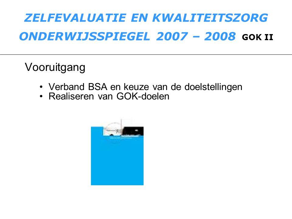 ZELFEVALUATIE EN KWALITEITSZORG ONDERWIJSSPIEGEL 2007 – 2008 GOK II De PIJNPUNTEN uit de 1 ste cyclus blijven bestaan.