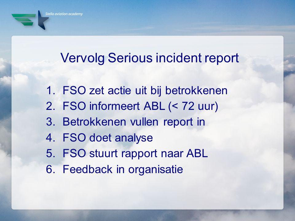 Vervolg Serious incident report 1.FSO zet actie uit bij betrokkenen 2.FSO informeert ABL (< 72 uur) 3.Betrokkenen vullen report in 4.FSO doet analyse
