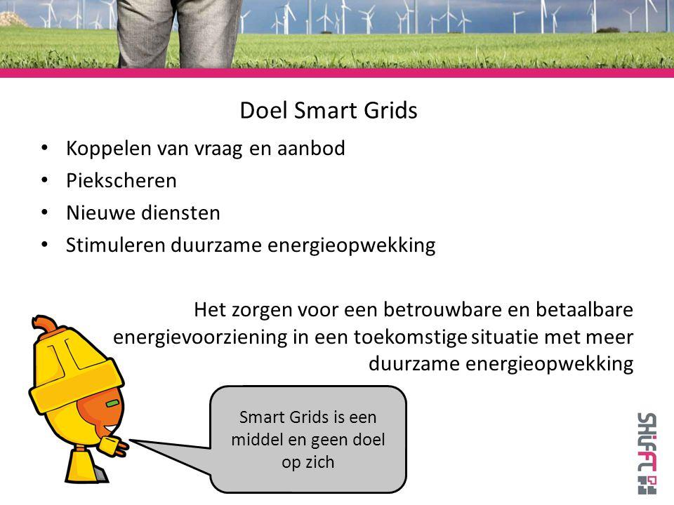 Doel Smart Grids Koppelen van vraag en aanbod Piekscheren Nieuwe diensten Stimuleren duurzame energieopwekking Het zorgen voor een betrouwbare en betaalbare energievoorziening in een toekomstige situatie met meer duurzame energieopwekking Smart Grids is een middel en geen doel op zich