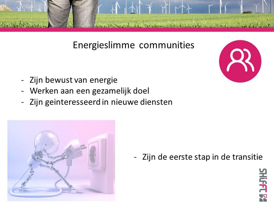 Energieslimme communities -Zijn bewust van energie -Werken aan een gezamelijk doel -Zijn geinteresseerd in nieuwe diensten -Zijn de eerste stap in de transitie