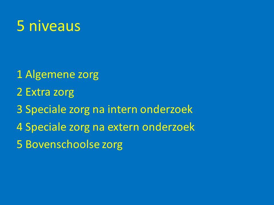 5 niveaus 1 Algemene zorg 2 Extra zorg 3 Speciale zorg na intern onderzoek 4 Speciale zorg na extern onderzoek 5 Bovenschoolse zorg
