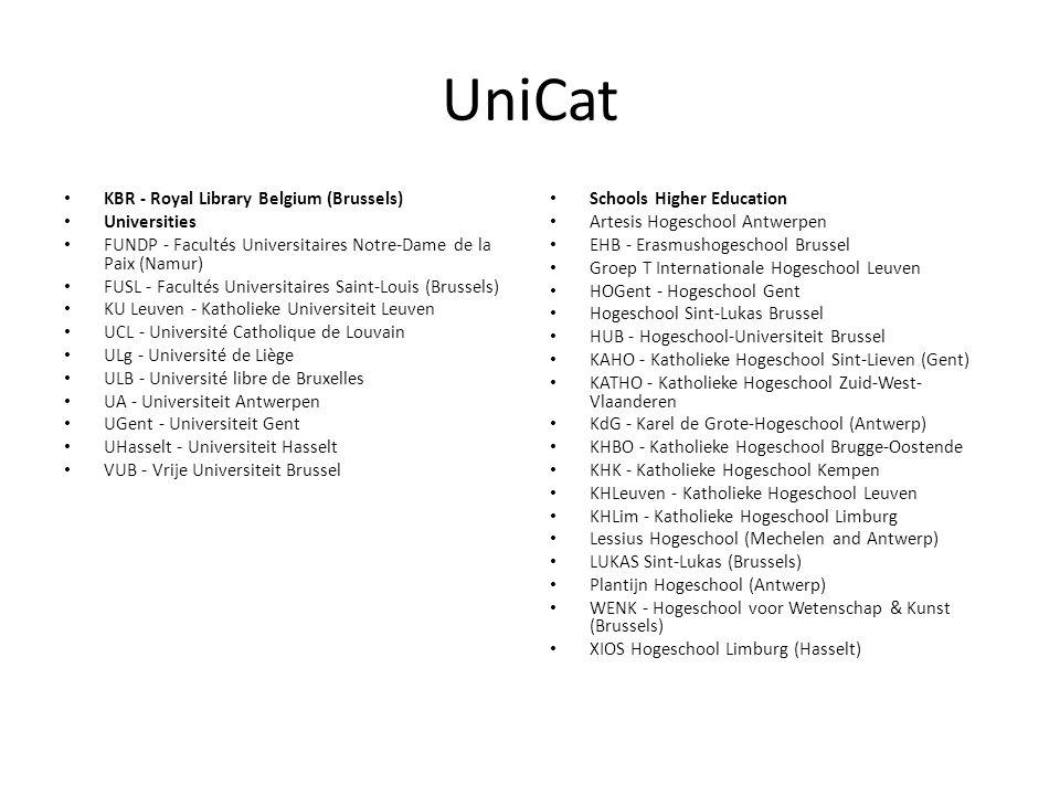 UniCat KBR - Royal Library Belgium (Brussels) Universities FUNDP - Facultés Universitaires Notre-Dame de la Paix (Namur) FUSL - Facultés Universitaire