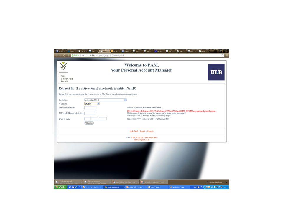 Registration Period of registration Status letters – FR, EN, NL Part-time/Full-time Change Programme Problems – Intermission