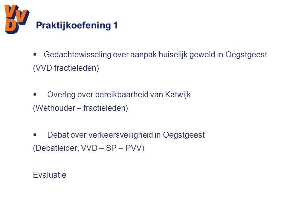Praktijkoefening 1  Gedachtewisseling over aanpak huiselijk geweld in Oegstgeest (VVD fractieleden)  Overleg over bereikbaarheid van Katwijk (Wethou