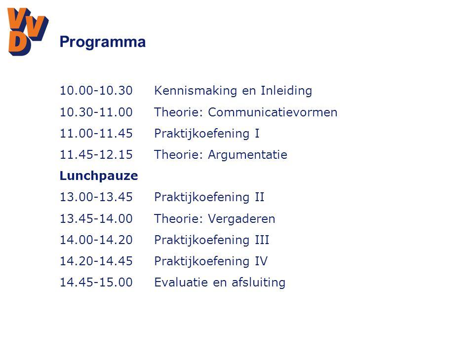 Praktijkoefening 1  Gedachtewisseling over aanpak huiselijk geweld in Oegstgeest (VVD fractieleden)  Overleg over bereikbaarheid van Katwijk (Wethouder – fractieleden)  Debat over verkeersveiligheid in Oegstgeest (Debatleider, VVD – SP – PVV) Evaluatie