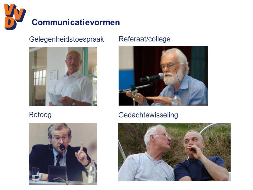 Communicatievormen Gelegenheidstoespraak Referaat/college Betoog Gedachtewisseling
