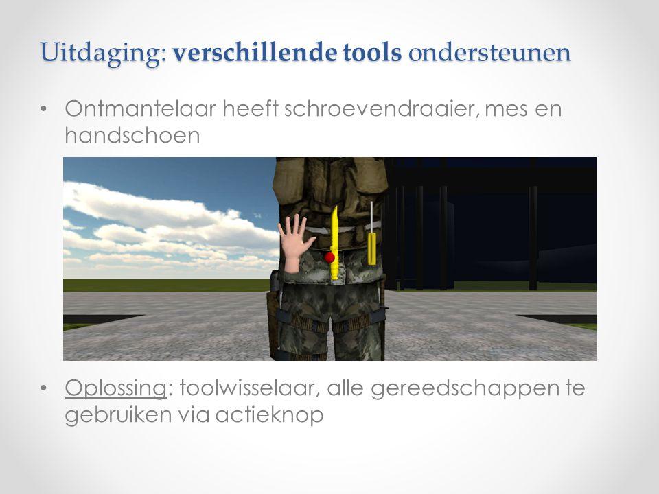 Uitdaging: verschillende tools ondersteunen Ontmantelaar heeft schroevendraaier, mes en handschoen Oplossing: toolwisselaar, alle gereedschappen te gebruiken via actieknop
