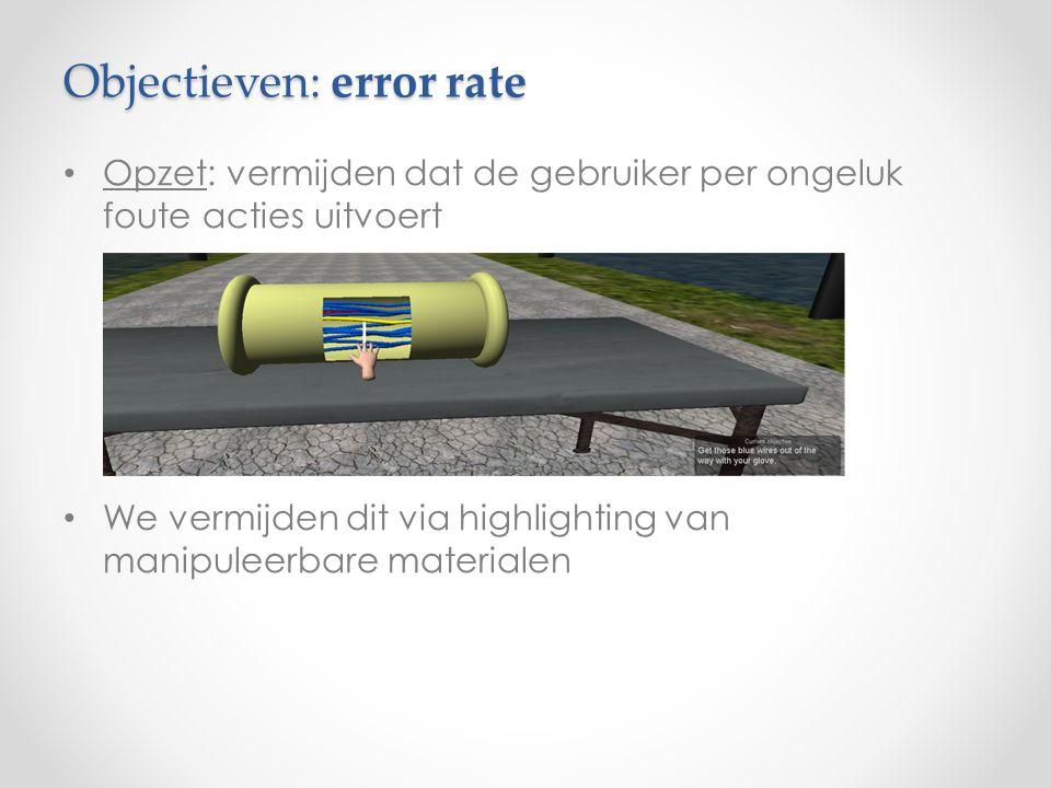 Objectieven: error rate Opzet: vermijden dat de gebruiker per ongeluk foute acties uitvoert We vermijden dit via highlighting van manipuleerbare materialen