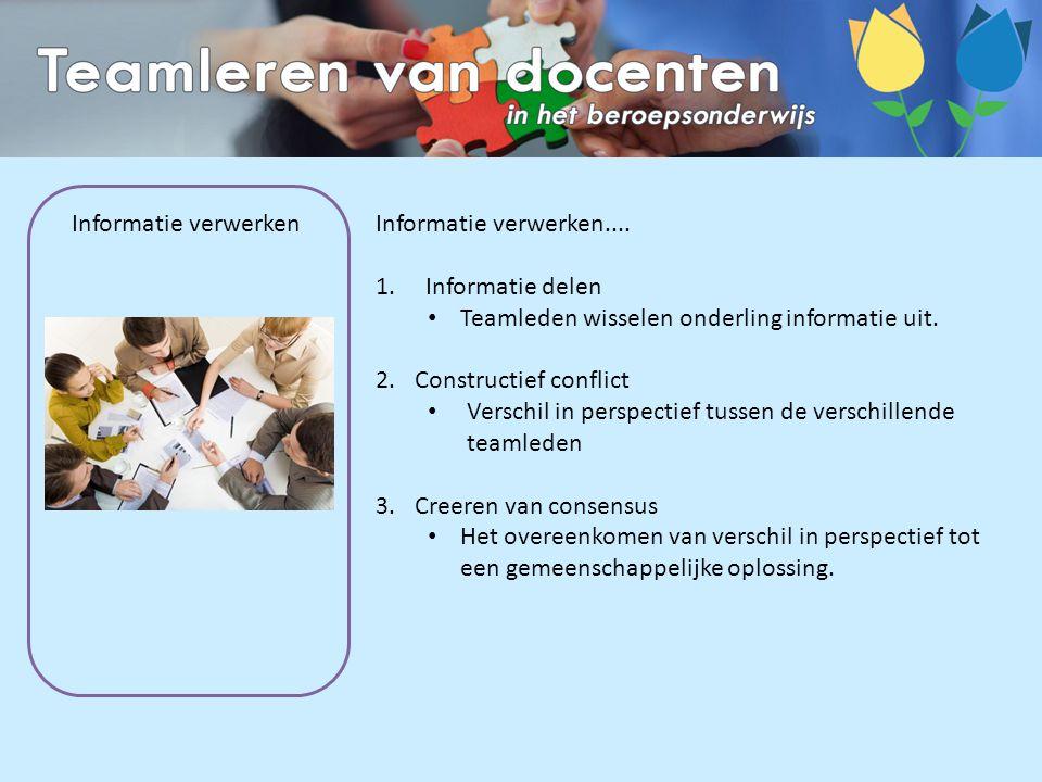 Informatie verwerken Informatie verwerken.... 1. Informatie delen Teamleden wisselen onderling informatie uit. 2.Constructief conflict Verschil in per