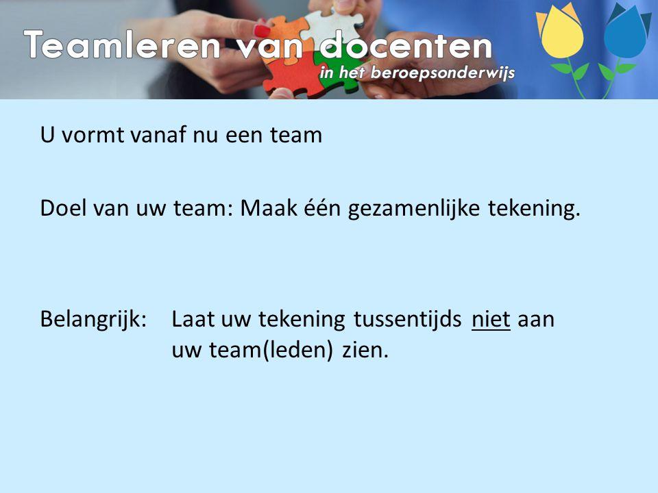 U vormt vanaf nu een team Doel van uw team: Maak één gezamenlijke tekening. Belangrijk:Laat uw tekening tussentijds niet aan uw team(leden) zien.