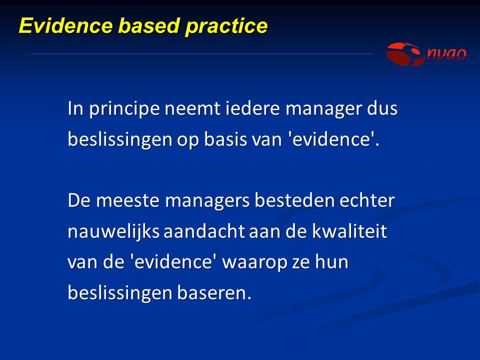 In principe neemt iedere manager dus beslissingen op basis van 'evidence'. De meeste managers besteden echter nauwelijks aandacht aan de kwaliteit van
