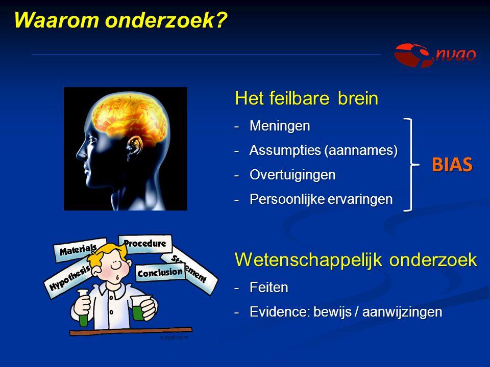 Het feilbare brein -Meningen -Assumpties (aannames) -Overtuigingen -Persoonlijke ervaringen Wetenschappelijk onderzoek -Feiten -Evidence: bewijs / aan