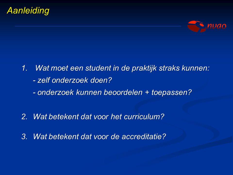 1. Wat moet een student in de praktijk straks kunnen: - zelf onderzoek doen? - onderzoek kunnen beoordelen + toepassen? - onderzoek kunnen beoordelen