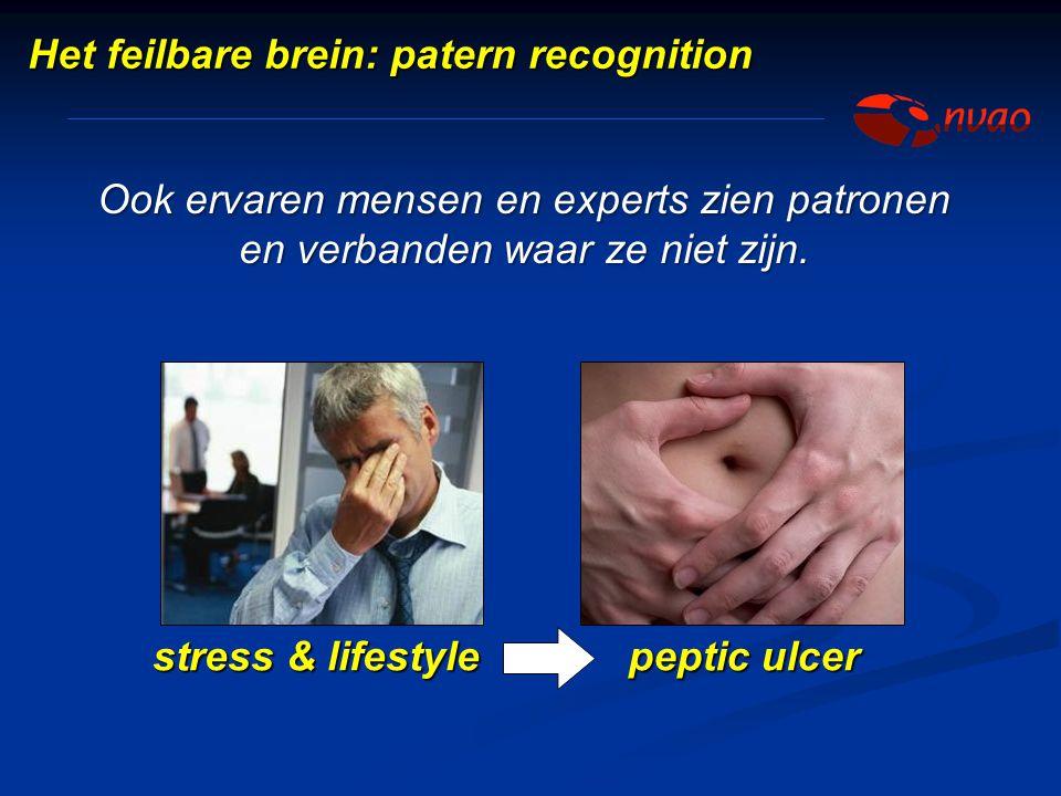 Ook ervaren mensen en experts zien patronen en verbanden waar ze niet zijn. stress & lifestyle peptic ulcer Het feilbare brein: patern recognition