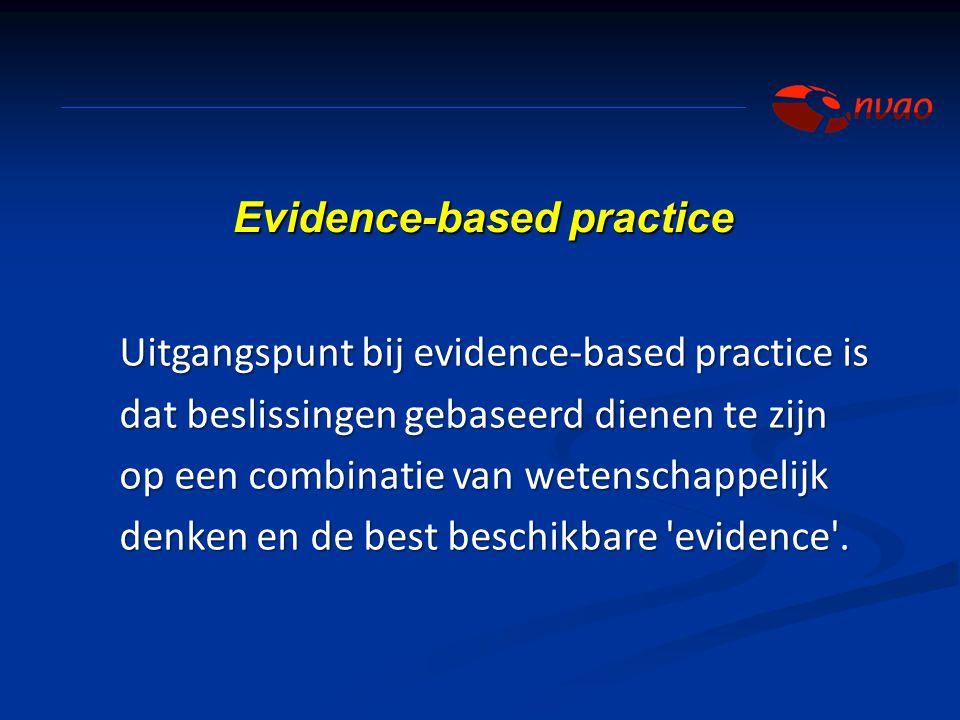 Uitgangspunt bij evidence-based practice is dat beslissingen gebaseerd dienen te zijn op een combinatie van wetenschappelijk denken en de best beschik