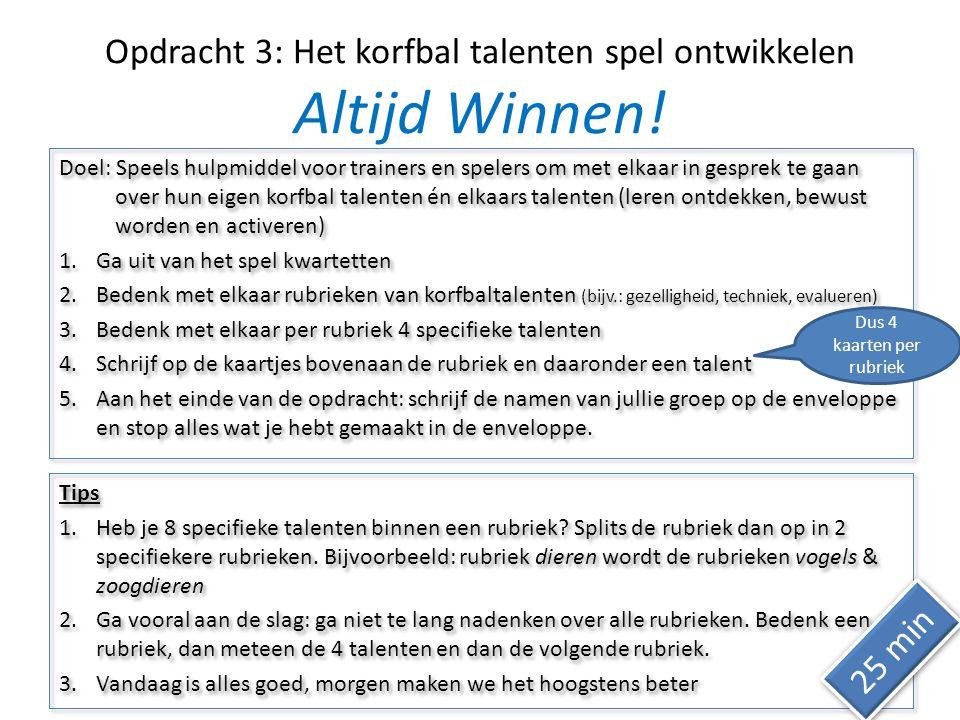Opdracht 3: Het korfbal talenten spel ontwikkelen Altijd Winnen.