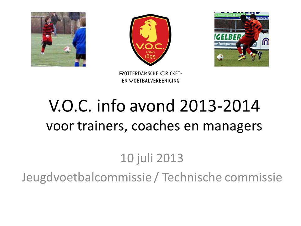 V.O.C. info avond 2013-2014 voor trainers, coaches en managers 10 juli 2013 Jeugdvoetbalcommissie / Technische commissie
