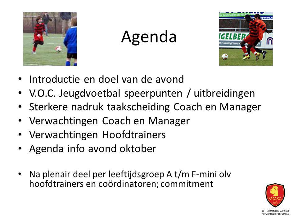 Agenda Introductie en doel van de avond V.O.C. Jeugdvoetbal speerpunten / uitbreidingen Sterkere nadruk taakscheiding Coach en Manager Verwachtingen C