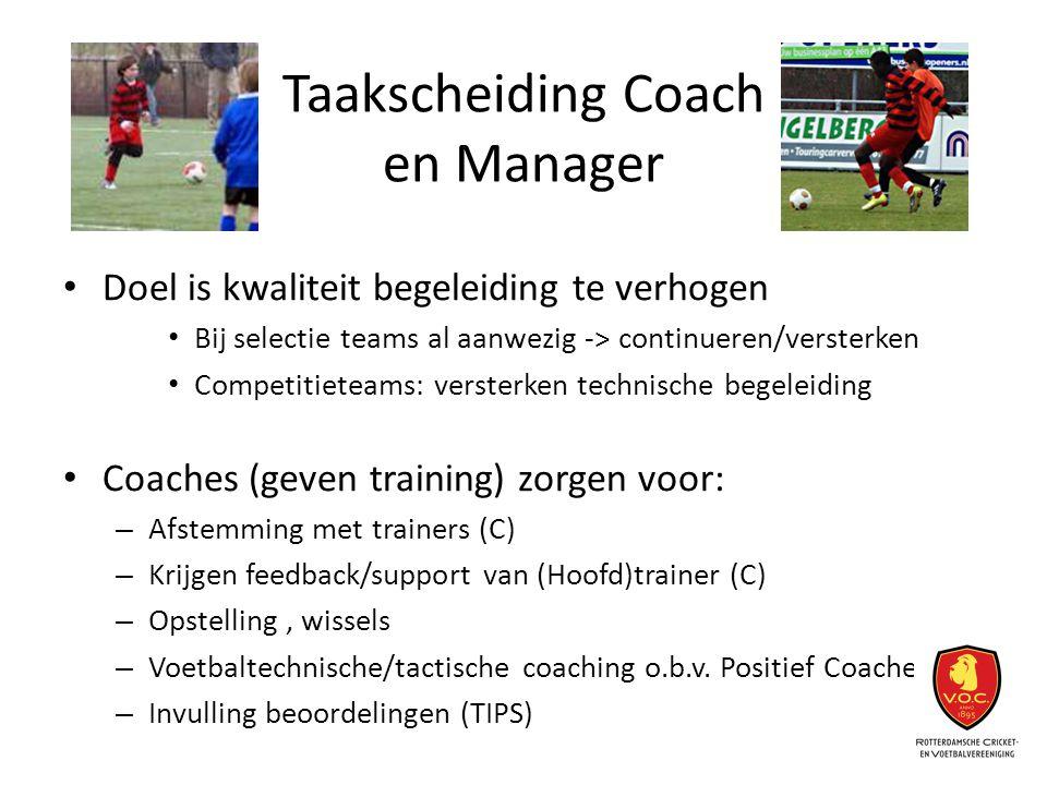 Taakscheiding Coach en Manager Doel is kwaliteit begeleiding te verhogen Bij selectie teams al aanwezig -> continueren/versterken Competitieteams: ver