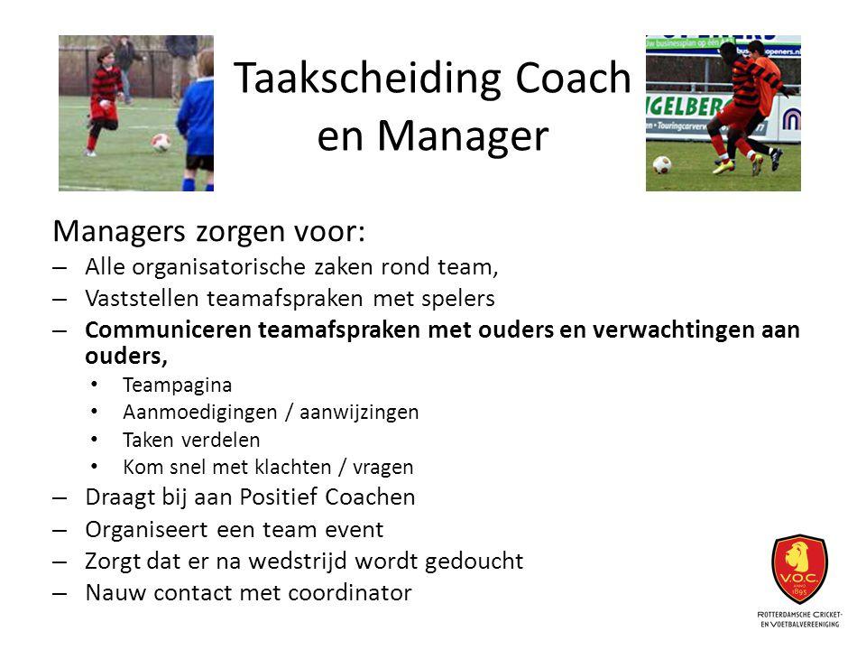 Taakscheiding Coach en Manager Managers zorgen voor: – Alle organisatorische zaken rond team, – Vaststellen teamafspraken met spelers – Communiceren t