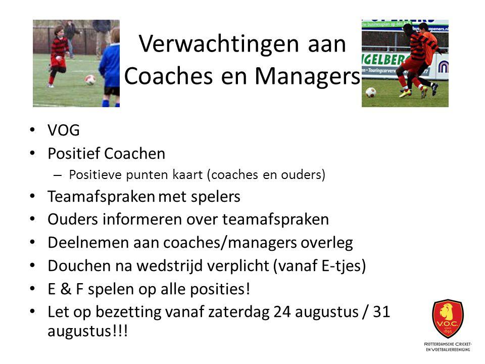 Verwachtingen aan Coaches en Managers VOG Positief Coachen – Positieve punten kaart (coaches en ouders) Teamafspraken met spelers Ouders informeren ov