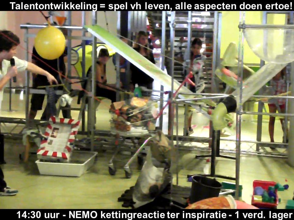 14:30 uur - NEMO kettingreactie ter inspiratie - 1 verd. lager Talentontwikkeling = spel vh leven, alle aspecten doen ertoe!