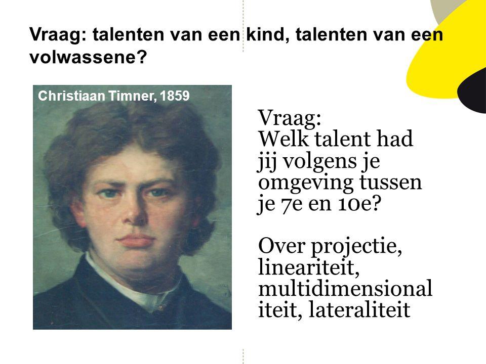 Vraag: talenten van een kind, talenten van een volwassene? Vraag: Welk talent had jij volgens je omgeving tussen je 7e en 10e? Over projectie, lineari