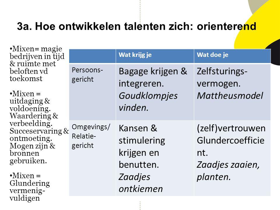 3a. Hoe ontwikkelen talenten zich: orienterend Wat krijg jeWat doe je Persoons- gericht Bagage krijgen & integreren. Goudklompjes vinden. Zelfsturings