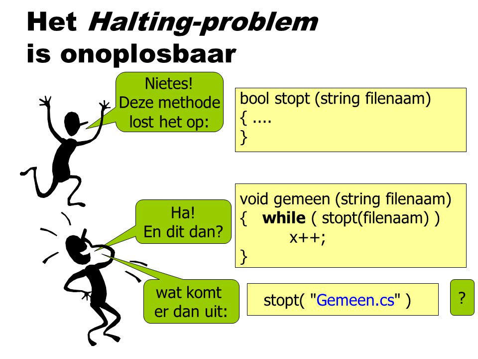 Het Halting-problem is onoplosbaar bool stopt (string filenaam) {....